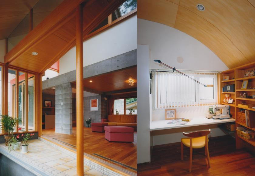 室内から玄関側を見る/食堂
